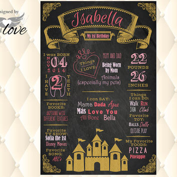 Princess Birthday Chalkboard poster, Pink and Gold Castle, 1st Birthday Princess party, chalkboard sign | Photo Prop