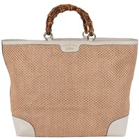 Gucci Women's Large Natural and Cream Straw Leather Bamboo Handle Tote Purse