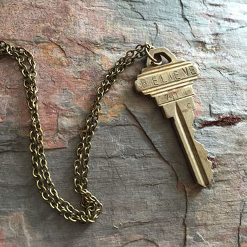 Wish Key Necklace ~Believe // Monogrammed Hand-Stamped Key // Vintage Key Necklace