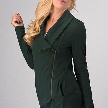 Asymmetrical Zip Up Fleece Jacket - Hunter Green
