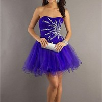 Short A-line Strapless with Beadings Zipper Back Layered Tulle Prom Dress PD2180 Dresses UK