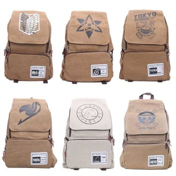 One Piece Naturo Totoro Attack on Titan Tokyo Ghoul Fairy Tail Backpack Large Capacity Travel School Bag Rucksack Mochila