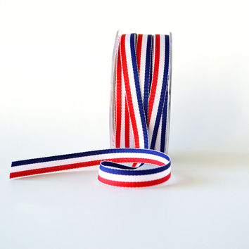 "Blue, White and Red Grosgrain Ribbon 3/8"" Wide Striped Ribbon French Flag Ribbon"