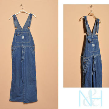 Vintage 1990s Dark Denim Wash Overalls with Unisex Fit