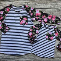 In Stock-Mommy and  me Striped Rose icing Raglan