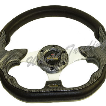 Universal 320mm PU Leather Racing Sports Auto Car Steering Wheel with Horn Button 12.5 inches Carbon Look