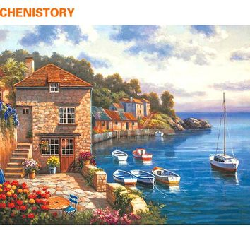CHENISTORY Town Seascape DIY Painting By Numbers Coloring Painting By Numbers Handpainted On Canvas Home Decor Wall Art Picture
