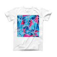 The Vivid Blue and Pink Sharp Shapes ink-Fuzed Front Spot Graphic Unisex Soft-Fitted Tee Shirt