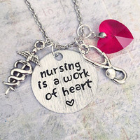 Nursing Is A Work Of Heart Necklace , Nurse Jewelry, Doctor Assistant Jewelry, Nursing School Jewelry, Doctor, Nurse Practitioner Jewelry