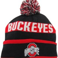 Ohio State Buckeyes Black/Red Cuffed Pom Knit Beanie Hat / Cap