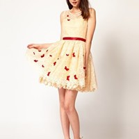 Nishe Embroidered Dress with Butterfly Detail at asos.com