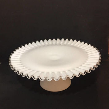 Silver Crest Cake Stand, Fenton Milk Glass Cake Stand, Crimped Cake Plate, Ruffled Cake Stand, Wedding Decor
