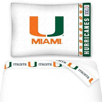 NCAA Miami Hurricanes Bed Sheet Set College Football Bedding