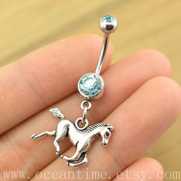 Belly ring, horse belly button Jewelry,belly button ring,pony navy ring,friendship bellyring,oceantime