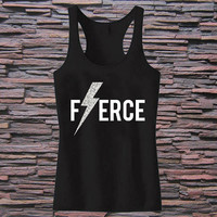 FIERCE Glitter Lightning Workout Tank top for womens and mens heppy fit