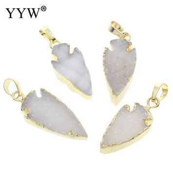 Hot Sale 5PCs/Bag Natural Agates Pendants Gold Electroplated Agates Arrowhead Charm Necklace Jewelry Free Shipping