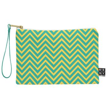 Allyson Johnson Teal Chartreuse Chevron Pouch