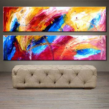 """'April026' - 48"""" X 24"""" Original Abstract  Art. Free-shipping within USA & 30 day return Policy."""