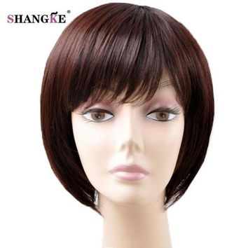 ESBG8W SHANGKE Short Brown Hair Wigs For Black Women Natural Synthetic Wigs For African Americans Heat Resistant Synthetic Fake Hair