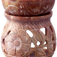 Carved Flowers - Oil Burner - Candle Holder
