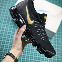 2018 Nike Air VaporMax Flyknit 2.0 Black Gold Sport Running Shoes - Best Online Sale