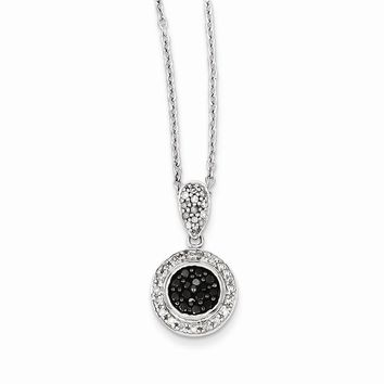Sterling Silver Black and White Diamond Circle Pendant Necklace