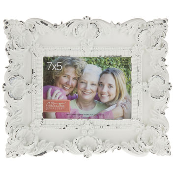 "7"" x 5"" White Ornate Resin Frame 