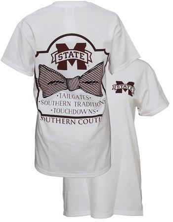 9a7f1efe1 Southern Couture MSU Classic Bow University of Mississippi State Girlie  Bright T Shirt