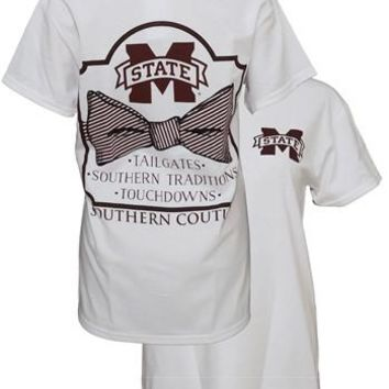 Southern Couture MSU Classic Bow University of Mississippi State Girlie Bright T Shirt