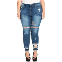 Mid Rise Curvy Distressed Jeans