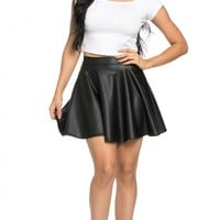 High Waisted Faux Leather Skater Skirt in Black