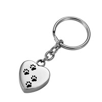 HooAMI Dog Paw Print on Heart Silver Pet Cremation Urn Keepsake Stainless Steel Keychains