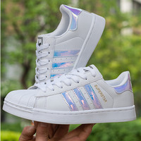 """""""Adidas"""" Fashion Reflective Shell-toe Flats Sneakers Sport Shoes Pink"""
