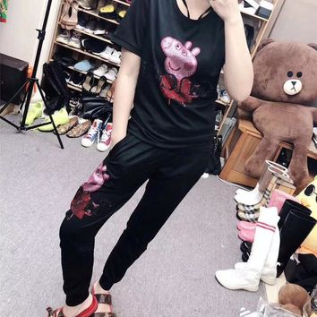 """Gucci"" Women Casual Fashion Hot Fix Rhinestone Cartoon Peppa Pig Short Sleeve Trousers Set Two-Piece Sportswear"