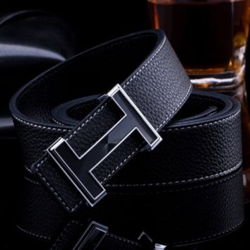 Hermes Smooth buckle punched Litchi pattern 3.5 wide belt