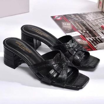 YSL Yves Saint laurent Women Fashion Casual Low Heeled Shoes Slipper Shoes-3