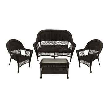 4-Piece Brown Resin Wicker Patio Furniture Set -  2 Chairs  Loveseat & Coffee Table