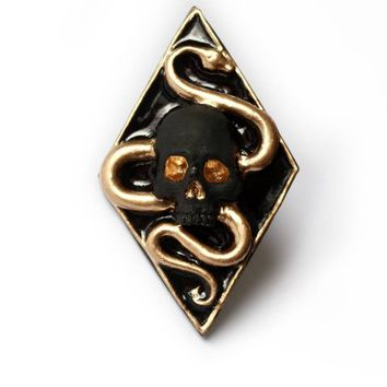 Gold Snake With Skull Brooch - pins , badges, Accessories, alternative jewelry