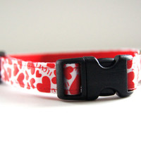 Red Hearts Valentine's Dog Collar Adjustable Sizes (XS, S, M)