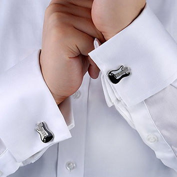 18K Gold Plated Brass Electric Guitar Musical Instrument Cufflinks Men's French Shirt Gift for Musician with Gift Box