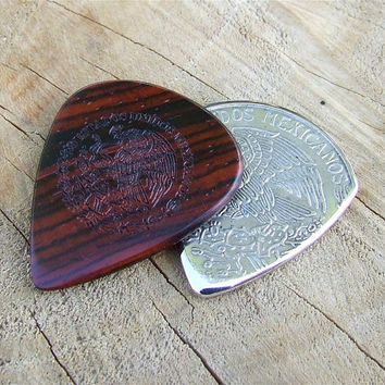 Premium Mexican Peso Coin & Cocobolo Rosewood Handmade Guitar Pick Combo