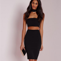 Black Zippered Halter Bodycon Dress