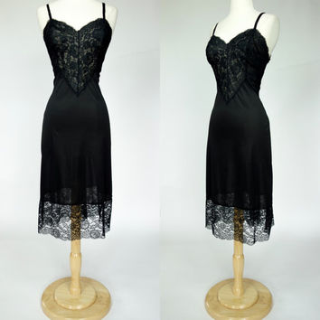 1950s black lace slip, Vanity Fair nylon lingerie, sheer negligee, large size 10