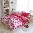 Sisbay Victoria's Secret Pink Leopard Bedding Twin Size,Girls Fashion Print Duvet Cover,Modern Cotton Fitted Sheet,4PC