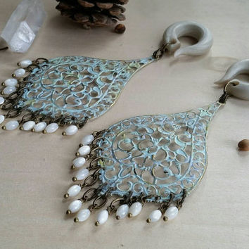 Vintage Chic Chandelier Gauged Earring Plugs Flashy Mother of Pearl Bead Finge & Pale Blue Patina