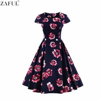 ZAFUL Women Summer Floral Dress Short Sleeves Retro 50S Rockabilly Elegant Prom Party Feminino Vestidos Swing High Waist Dresses