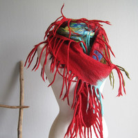 Red scarf nuno felt scarf felted OOAK wrap scarf with fringes gift woman wearable art