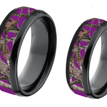 Purple Camouflage On BlackTungsten Couples Band Rings