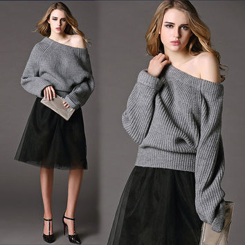 Autumn Strapless Knit Tops Sweater [6351445380]