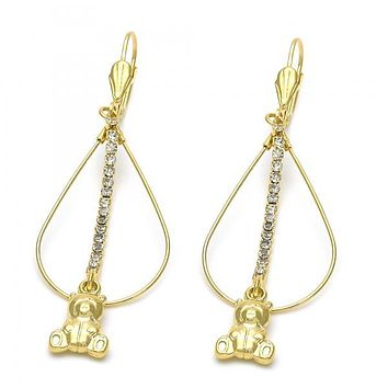 Gold Layered 5.116.015 Long Earring, Teddy Bear Design, with  Cubic Zirconia, Gold Tone